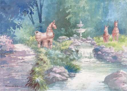 Scenic Watercolor Art Painting title Fountain In A Park by artist Sankara Babu