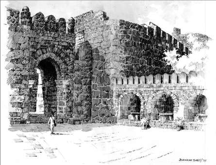 Scenic Pen Art Drawing title 'The Old Fort' by artist Sankara Babu