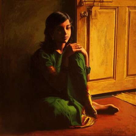Figurative Oil Art Painting title 'A Girl' by artist S Elayaraja