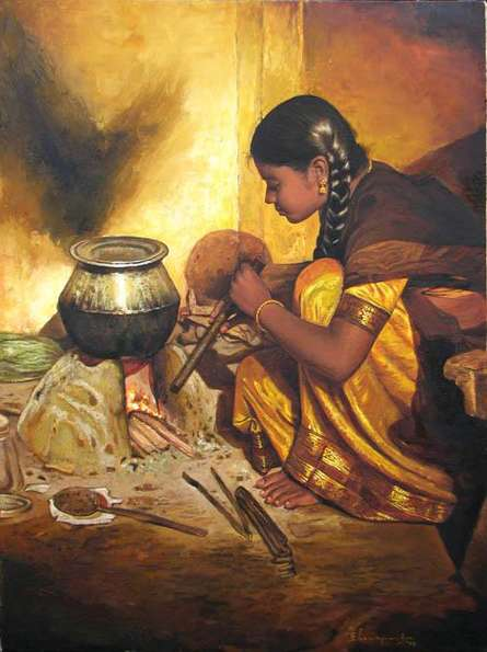 S Elayaraja | Oil Painting title Cooking Girl on Canvas | Artist S Elayaraja Gallery | ArtZolo.com