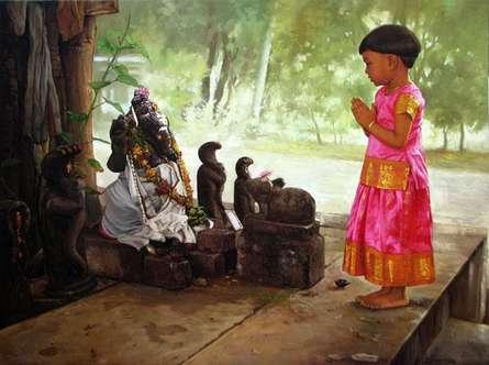 Devotee I | Painting by artist S  Elayaraja | oil | Canvas