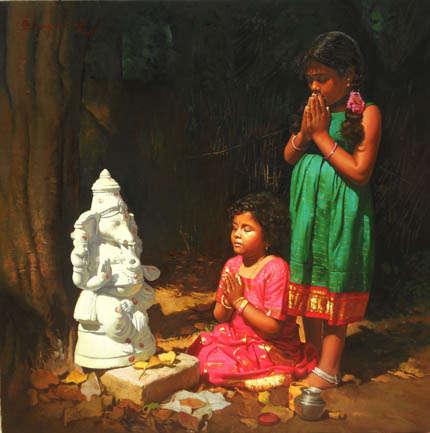 Devotee IV | Painting by artist S  Elayaraja | oil | Canvas