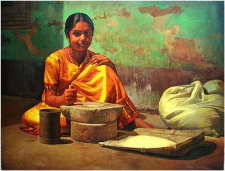 Figurative Oil Art Painting title Chakki by artist S Elayaraja