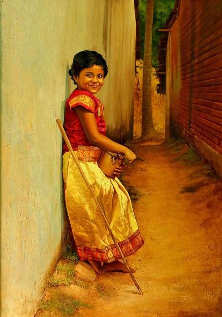Figurative Oil Art Painting title Girl by artist S Elayaraja