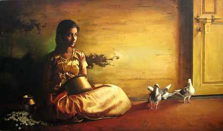 Figurative Oil Art Painting title 'Girl With Pigeon II' by artist S Elayaraja