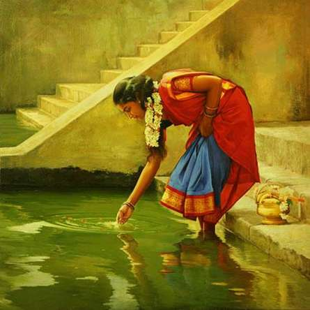 Figurative Oil Art Painting title 'Puja Flower Offering' by artist S Elayaraja
