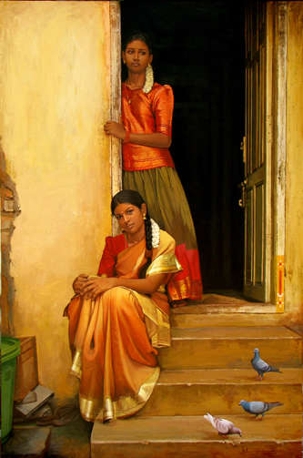 Sisters | Painting by artist S  Elayaraja | oil | Canvas