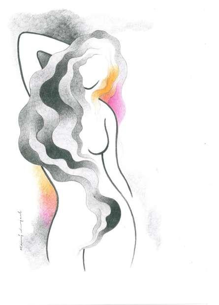 Sensual Siren   Drawing by artist Manoj Gujral      pencil   Canvas