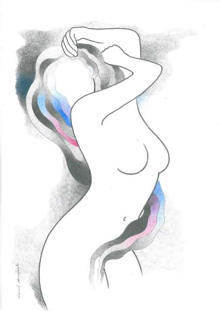 Nude Pencil Art Drawing title 'Hot and steamy girl' by artist Manoj Gujral