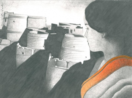 Figurative Pencil Art Drawing title 'Looking to conquer' by artist Manoj Gujral