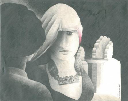 Tryst in a fort | Drawing by artist Manoj Gujral | | pencil | Canvas