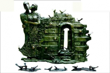 Birds Home Coming   Sculpture by artist Asurvedh Ved   Bronze