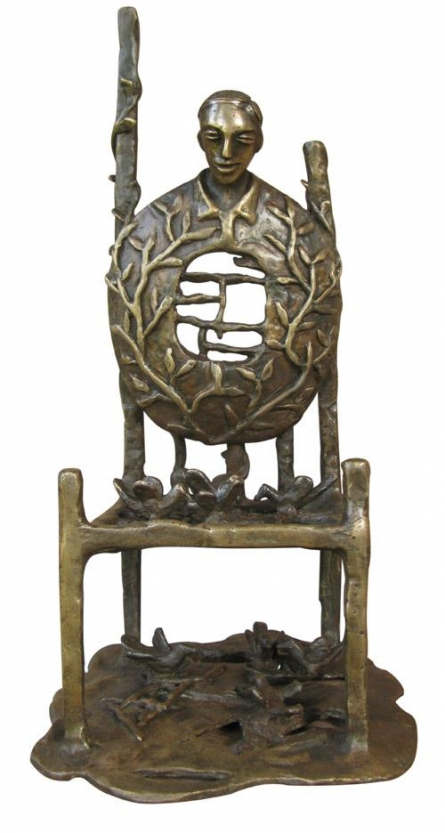 Bronze Sculpture titled 'Golden Chair' by artist Asurvedh Ved