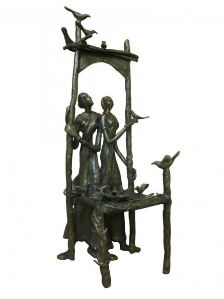 Talking With Bird   Sculpture by artist Asurvedh Ved   Bronze