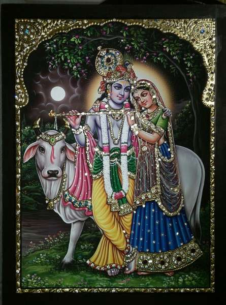 VANI VIJAY | Tanjore Traditional art title Radha Krishna and Cow Tanjore Art on Plywood | Artist VANI VIJAY Gallery | ArtZolo.com