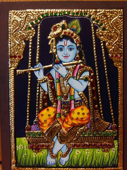 Traditional Indian art title Laddu Gopal Tanjore Painting on Plywood - Tanjore Paintings