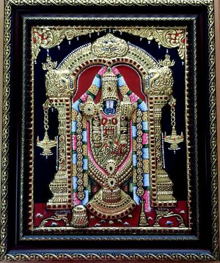 Balaji Tanjore Painting | Traditional art by artist VANI VIJAY | Tanjore painting | plywood