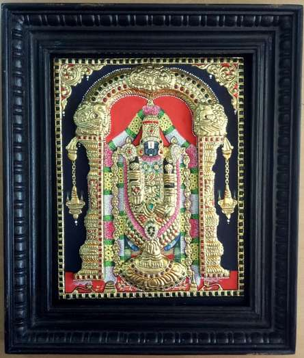 Religious Tribal Art Painting title Balaji Tanjore Painting by artist VANI VIJAY
