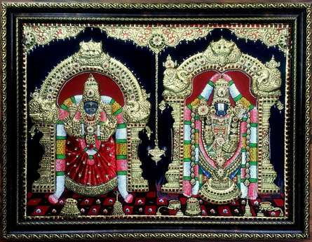 Balaji and Padmavathi Tanjore Paintig | Traditional art by artist VANI VIJAY | Tanjore painting | plywood