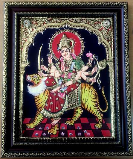 Durga Tanjore Painting | Traditional art by artist VANI VIJAY | Tanjore painting | Plywood