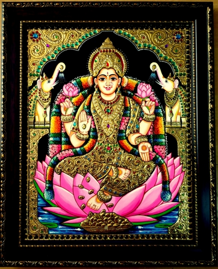 Traditional Indian art title Gajalakshmi Tanjore Painting 2 on Plywood - Tanjore Paintings