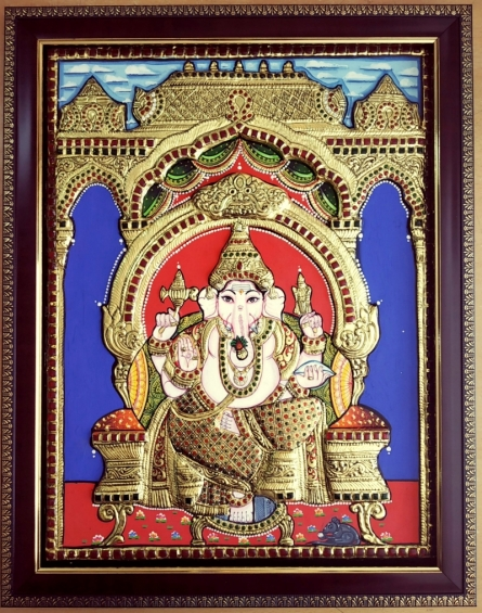 art, traditional, tanjore, plywood, religious, lord ganesha