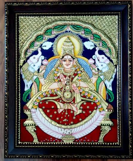 VANI VIJAY | Tribal Painting title Lakshmi Tanjore Painting III on Wood | Artist VANI VIJAY Gallery | ArtZolo.com