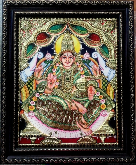 GAJALAKSHMI TANJORE PAINTING | Traditional art by artist KUM KUMGALLERY | Tanjore painting | PLYWOOD