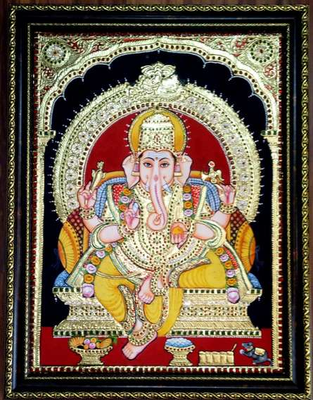 Religious Tribal Art Painting title 'Ganesha Tanjore Painting' by artist VANI VIJAY