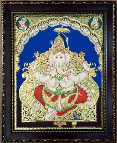 Ganesha Antique Style Tanjore Painting | Painting by artist VANI VIJAY | other | Wood