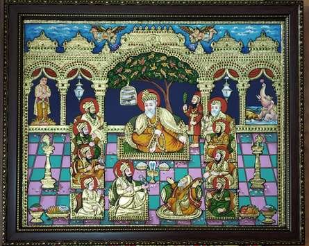 Traditional Indian art title Gurunanak With Sikh Gurus Tanjore Painti on Plywood - Tanjore Paintings