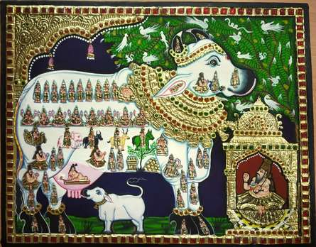 Traditional Indian art title Kamadenu Tanjore Painting 1 on Plywood - Tanjore Paintings