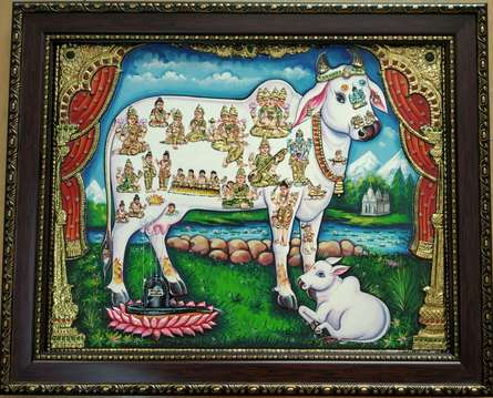 Traditional Indian art title Kamadhenu Tanjore Painting 2 on Plywood - Tanjore Paintings