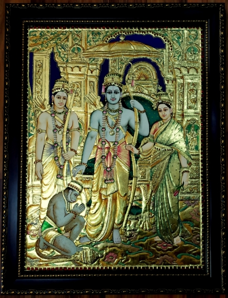 Traditional Indian art title Kodandarama Tanjore Painting on Plywood - Tanjore Paintings