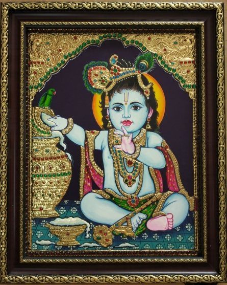 Tanjore Paintings | Traditional art title Krishna Tanjore Painting 1 on Plywood | Artist VANI VIJAY