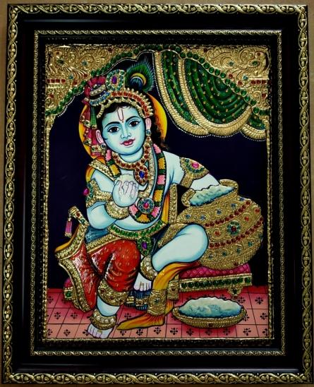 VANI VIJAY | Tanjore Traditional art title Krishna Tanjore Painting 2 on Plywood | Artist VANI VIJAY Gallery | ArtZolo.com