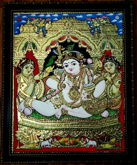 Traditional Indian art title Krishna Tanjore Painting 6 on Plywood - Tanjore Paintings
