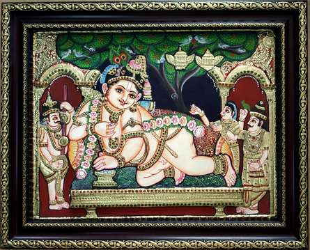 Traditional Indian art title Krishna Tanjore Painting 8 on Plywood - Tanjore Paintings