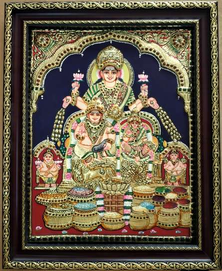Traditional Indian art title Kuberalakshmi Tanjore Painting on Plywood - Tanjore Paintings