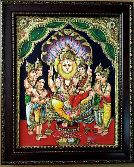 Traditional Indian art title Lakshmi Narasimha Tanjore Painting on Plywood - Tanjore Paintings