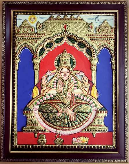 Traditional Indian art title Lakshmi Tanjore Painting on Plywood - Tanjore Paintings