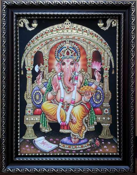 GANESHA TANJORE PAINTING | Traditional art by artist KUM KUM GALLERY | Tanjore painting | Plywood