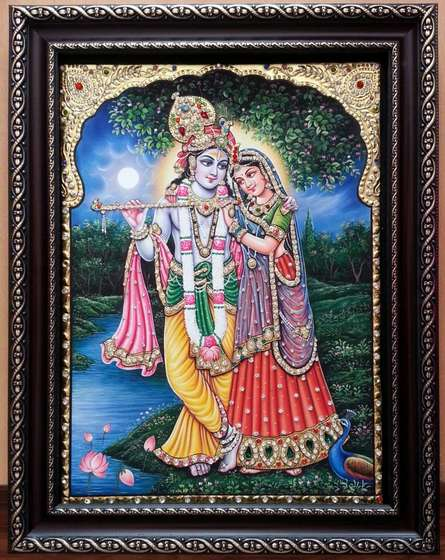 Traditional Indian art title RADHAKRISHNA TANJORE PAINTING on Plywood - Tanjore Paintings