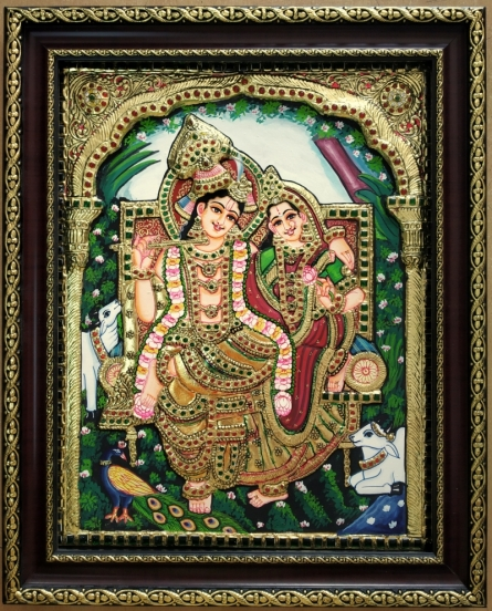 art, traditional, tanjore, plywood, religious, radha krishna