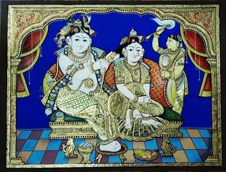 art, traditional, tanjore, plywood, religious, radha krishna