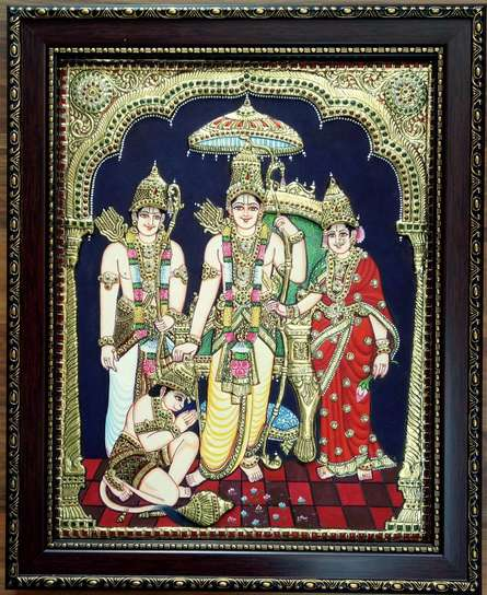 Traditional Indian art title Ram Parivaar Tanjore Painting on Plywood - Tanjore Paintings