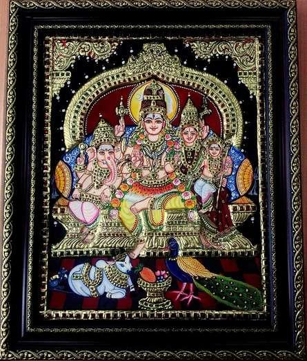 Shiva Family Tanjore Painting | Traditional art by artist VANI VIJAY | Tanjore painting | Plywood