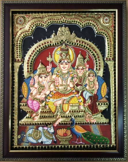 Traditional Indian art title Shiva Family Tanjore Painting on Plywood - Tanjore Paintings