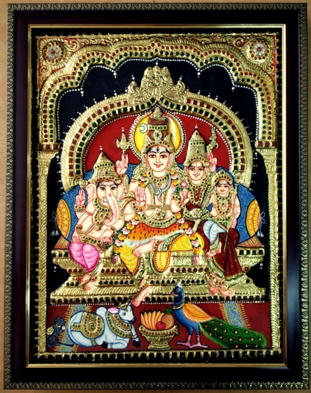 VANI VIJAY | Tanjore Traditional art title Shiva Family Tanjore Painting 4 on Plywood | Artist VANI VIJAY Gallery | ArtZolo.com