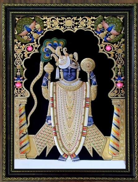 art,painting,folk,tanjore,traditional,indian,god,shrinathji,sreenathji,krishna